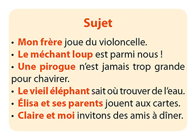 carte Phrases du jeu Grammi Cat's 2 - Les fonctions grammaticales